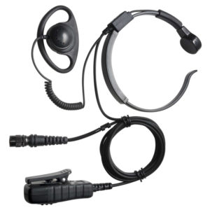 Hytera PD6/X1 Series Throat Microphone & D Shape Earpiece - Hirose Connector