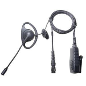 ICOM IC-F 2 Pin Side & Lock Screws D Shape Earpiece & Boom Mic - Hirose Connector